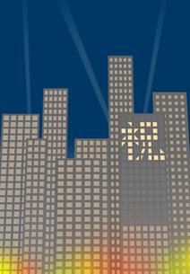 窓明かりで表示した祝の文字があるビル街の素材 [FYI00466248]