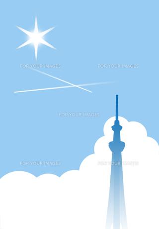 飛行機雲のある夏空とスカイツリーの素材 [FYI00466249]