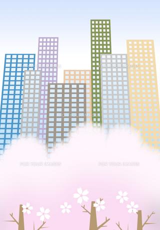 桜の花が咲くビル街の素材 [FYI00466256]