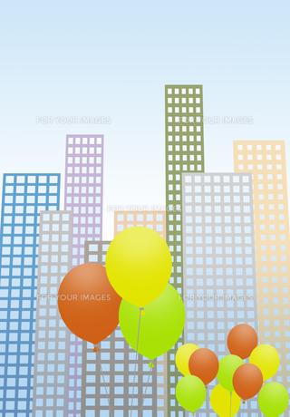 風船が彩るビル街の写真素材 [FYI00466271]