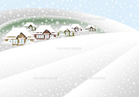 雪が積もる冬の農村の素材 [FYI00466272]