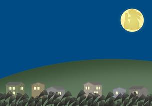 十五夜の月が出ている住宅街の素材 [FYI00466275]