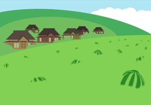 スイカが実る夏の農村の写真素材 [FYI00466276]