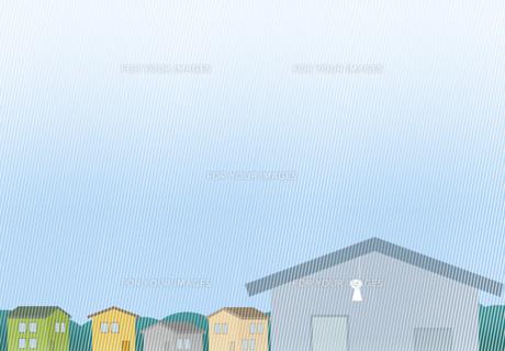 てるてる坊主が下がる雨の住宅街の素材 [FYI00466281]
