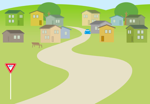 徐行の道路標識がある住宅街の素材 [FYI00466287]