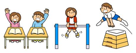 小学校生活 教室の授業と体育の鉄棒と跳び箱のイラスト素材 [FYI00466356]