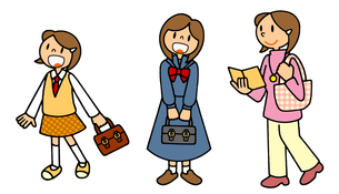 女性の一生 中学から高校から大学のイラスト素材 [FYI00466358]