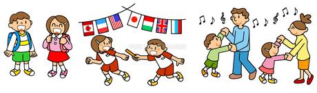 小学校生活 通学と運動会のリレーと親子の社交ダンスのイラスト素材 [FYI00466360]