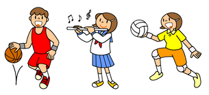 中学高校生活 バスケットボール部と吹奏楽部とバレー部のイラスト素材 [FYI00466364]