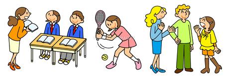 中学高校生活 授業と部活動のテニスと留学の英会話のイラスト素材 [FYI00466366]