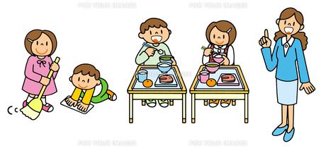 小学校生活 掃除と給食と先生のイラスト素材 [FYI00466371]