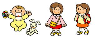 女性の一生 誕生から幼稚園から小学校入学の写真素材 [FYI00466375]