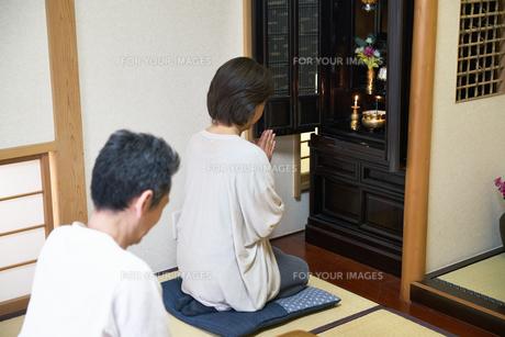 仏壇で拝む中年夫婦の写真素材 [FYI00466866]