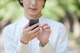 緑の中で携帯電話を使う男性の写真素材 [FYI00467147]
