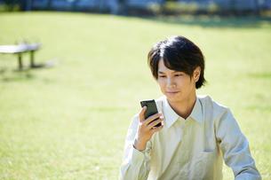 芝生の上で携帯電話を使う男性の写真素材 [FYI00467169]