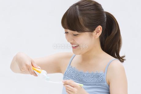 歯ブラシに歯磨き粉を付ける女性の写真素材 [FYI00467185]