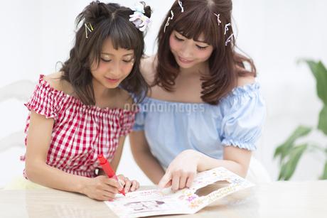 アルバムに文字を記入している女性2人の写真素材 [FYI00467186]