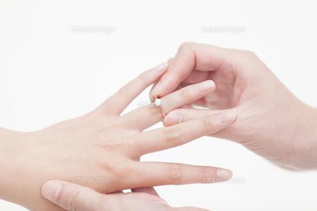 指輪をはめるカップルの手元の写真素材 [FYI00467189]