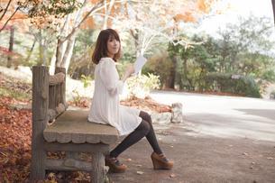 秋の紅葉した公園のベンチで読書をする女性の素材 [FYI00467232]