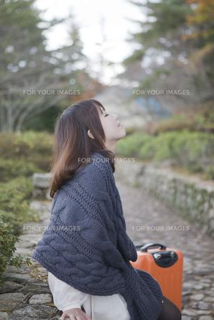 秋の石畳にトランクを置いて座っている女性の素材 [FYI00467306]