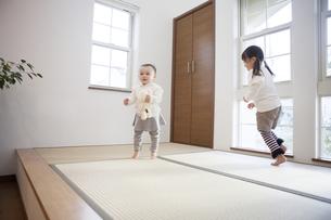 畳の上で遊ぶ姉妹の写真素材 [FYI00468139]
