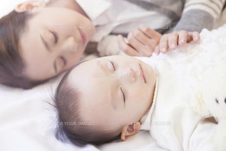 母親と一緒に眠る赤ちゃんの写真素材 [FYI00468185]