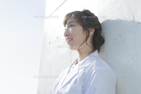 遠くを見つめる白衣を着た学生の素材 [FYI00468281]