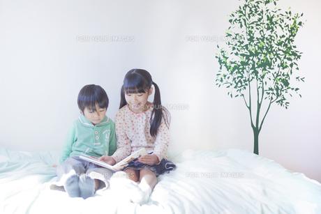 絵本を読む兄弟の写真素材 [FYI00468498]