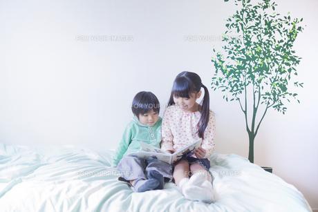 絵本を読む兄弟の写真素材 [FYI00468512]