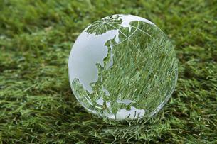 芝生とガラスの地球儀の写真素材 [FYI00468709]