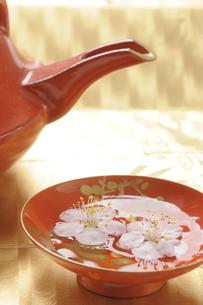 漆塗りの杯に浮かぶ白梅の写真素材 [FYI00469453]