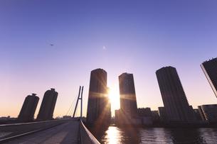 東雲のタワーマンション群と夕日の写真素材 [FYI00469853]