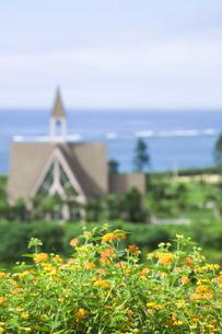 花と教会と海の素材 [FYI00470272]