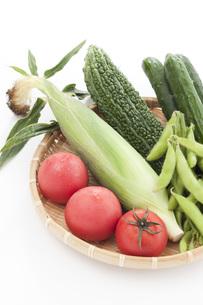 ザルに盛られたトマトとトウモロコシとゴーヤと枝豆とキュウリの写真素材 [FYI00470402]