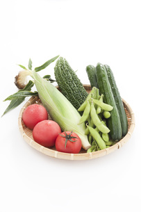 ザルに盛られたトマトとトウモロコシとゴーヤと枝豆とキュウリの写真素材 [FYI00470405]
