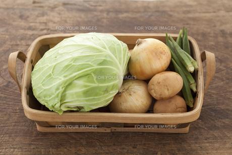 かごに入った野菜の写真素材 [FYI00470433]