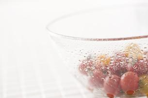 水滴のついたミニトマト入りガラス器の素材 [FYI00470486]