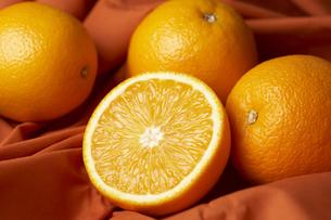布の上に置いたオレンジの素材 [FYI00470758]