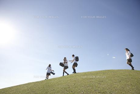 青空の下の芝の高台でふざけ合う女子高生四人の素材 [FYI00471332]