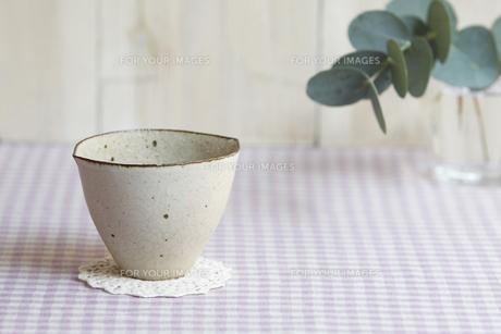 机の上の陶器の器とグリーンの素材 [FYI00471391]