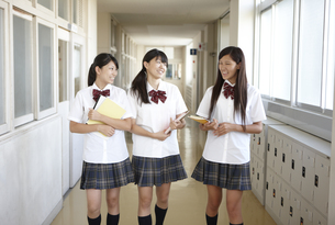ノートを手に廊下を歩く女子高生三人の写真素材 [FYI00471643]