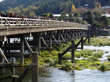観光客が列をなす渡月橋の写真素材 [FYI00473725]