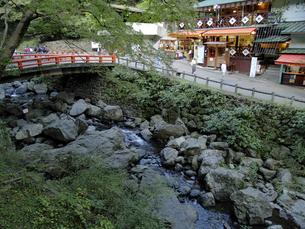 箕面川上流とお食事処と瀧見橋の写真素材 [FYI00473777]