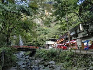 箕面川から見上げたお食事処と瀧見橋の写真素材 [FYI00473780]