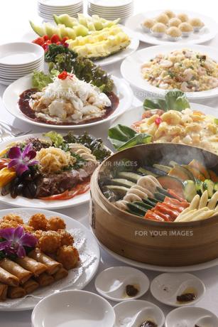 蒸籠蒸し、春巻き、エビマヨ、焼飯、など中華料理の素材 [FYI00474959]