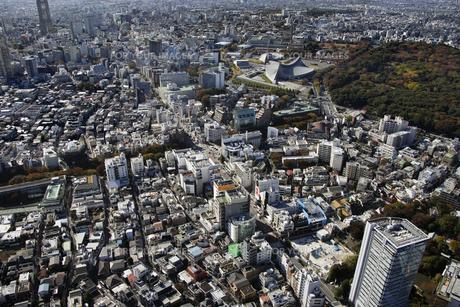 原宿駅周辺の空撮の写真素材 [FYI00477293]
