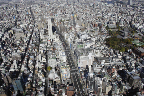 浅草周辺の空撮の写真素材 [FYI00477561]
