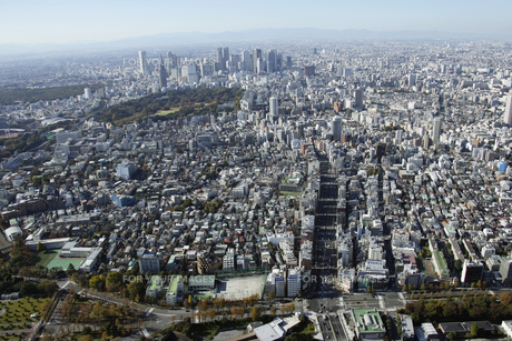 紀尾井町上空の空撮の写真素材 [FYI00477614]