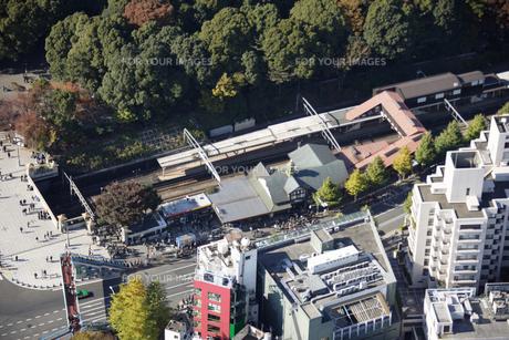 原宿駅周辺の空撮の写真素材 [FYI00477651]