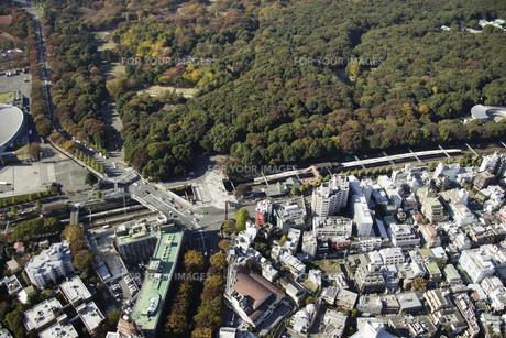 原宿駅周辺の空撮の写真素材 [FYI00477653]